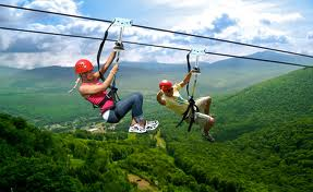 Ziplining at 600 ft. off the ground!