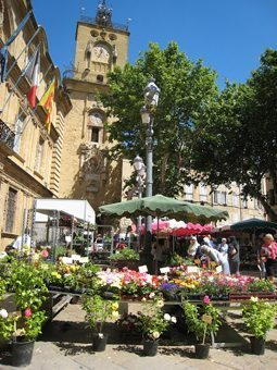 Aix's flower market in Place de l'Hotel de Ville, with the 16th-century clock tower in the background.