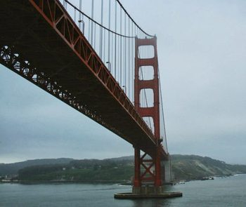 Passing under the Golden Gate Bridge, San Francisco.