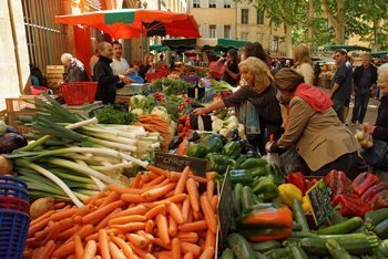 A cornucopia of veggies at Aix's daily food market in Place Richelme.