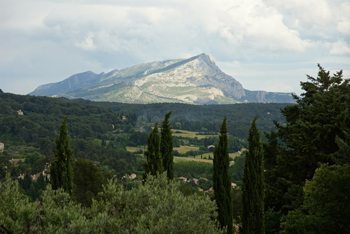The view of Montagne Sainte-Victoire, taken from where Cezanne stood in Aix when he painted it.