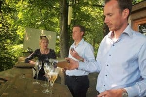 Champagne is served in the Perching Bar, Didier Couteau, right is the boss.