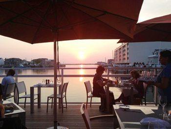 Dinner at Reeds Resort, Ocean City NJ, by twilight.