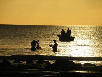 Fishing at Cable Beach, in Broome.