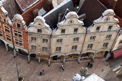 In Arras the town square is bordered by buildings all rebuilt to look like they did in 1820.