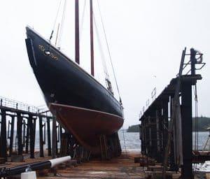 The beloved Bluenose schooner in drydock in Lunenburg NS.