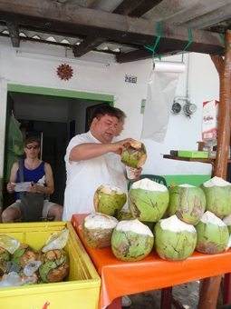 In Puerto Vallarta, Cesar the coconut man keeps people cool with fresh milk. Photos by Cindy Bigras