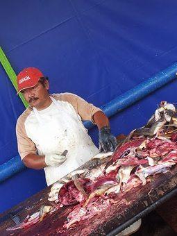 Fish monger in El Salvador.