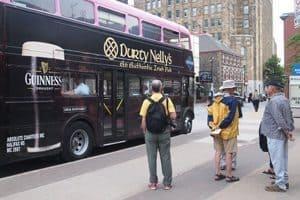 The Ambassatours pink busses that take visitors on a city tour of Halifax, Nova Scotia's capital city.