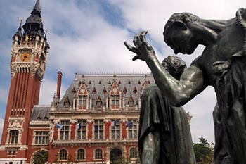 A Rodin sculpture outside of the city hall in Calais, France.