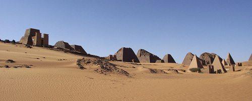 A panorama of the pyramids.