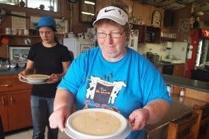 Annie White with her seafood-chowder at the Deck in Blandford.