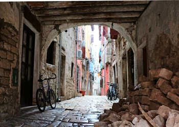 An arched street in Rovinj, Croatia.