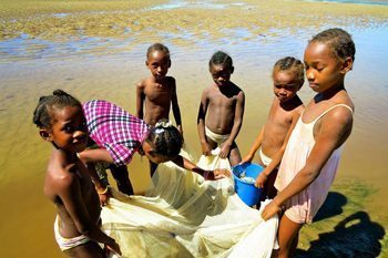 Fishing on a beach in Madagascar. photo by Jean M. Spoljaric.