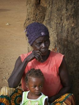 Granny and baby waiting for vaccinations in the Central African Republic.
