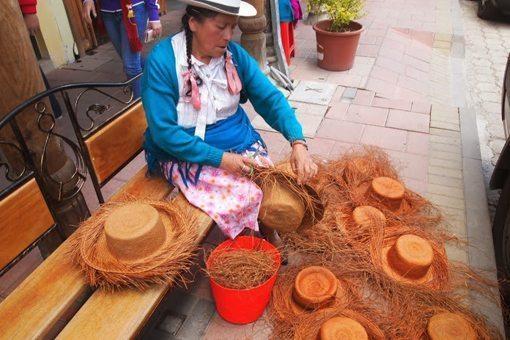 A hatmaker in Ecuador. Max Hartshorne photo.