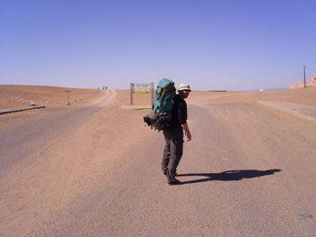 Hiking in the desert.