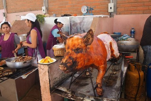Pigs are roasted using gas torches all over the country.