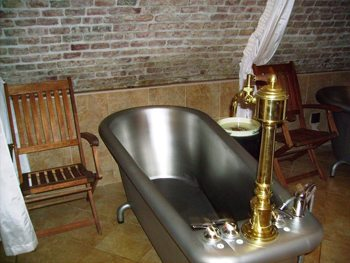 The steel tubs are filled with beer at this spa in the Czech Republic. Eric Goodman photos.