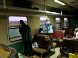 On the train from Nairobi to Mombasa: Shady characters lurking. Luke Armstrong photos.