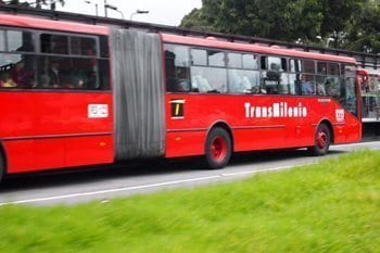 Trans milenio busses in Bogota.