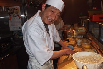 Sushi chef at Kaide Sushi bar, Vancouver.