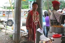 entertainer at the Igorot Marketplace in Baguio City, Philippines. photos by Jason McKeevy.