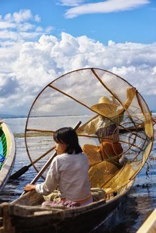 Conical fishing nets are used by local fishermen on Inle Lake.