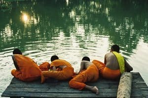 Young monks by the river. Bill Reyland photo.