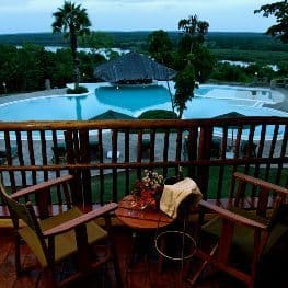 Paraa lodge Uganda, with rooms overlooking the Nile.