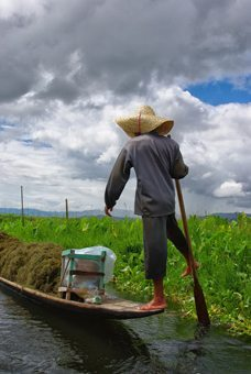 One-legged rower on Inle Lake in Burma. Rachael Rowe photo.