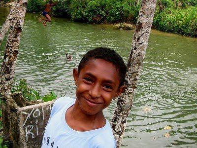 Enjoying a swim in Fak-Fak West Papua Indonesia. photo by Michael Britton.