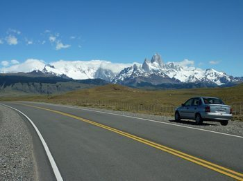 "Our ""rugged"" vehicle on the road to El Chalten. photos by Julie Vick"