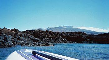 Volcanic rocks on a Maui beach.