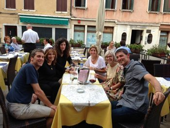 Proseco in Venice, enjoying the comraderie of the group.