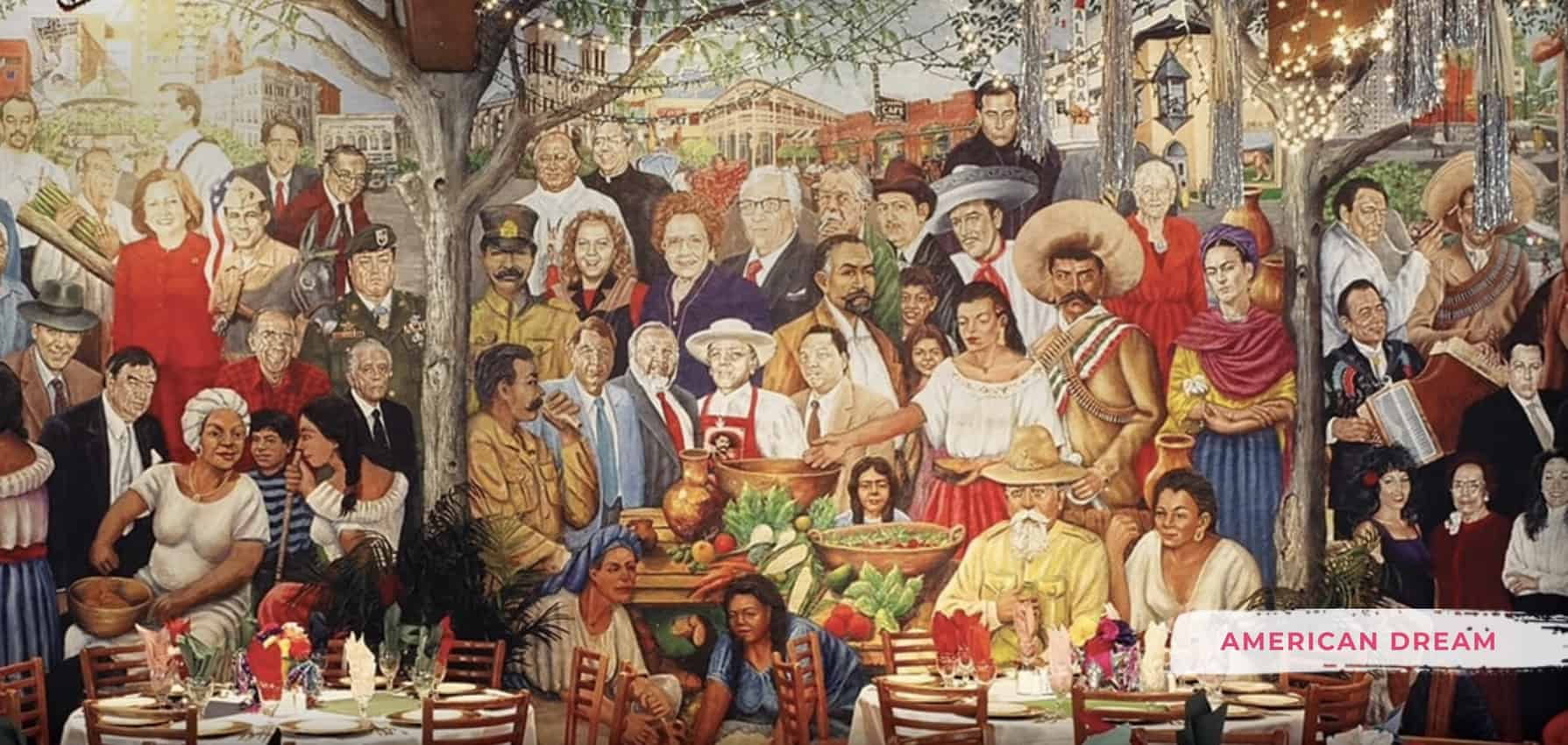 The famous mural at Mi Tierra Cafe, San Antonio, Texas.