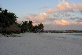 Tulum's beach at sunset.