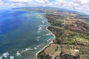 North Oahu coastline, seen from the parachute camera.