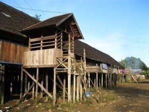 The Dayak longhouse in Borneo.
