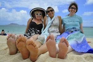 Kailua Beach happy travelers. photo by Patti Morrow.
