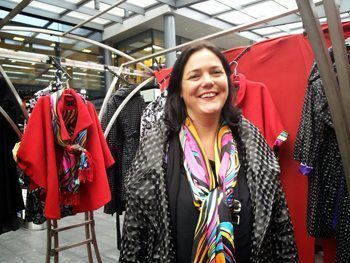 Lizzie Nolan has been here for five years, selling her 1950s inspired dress coats. photos by Gaby Koppel.