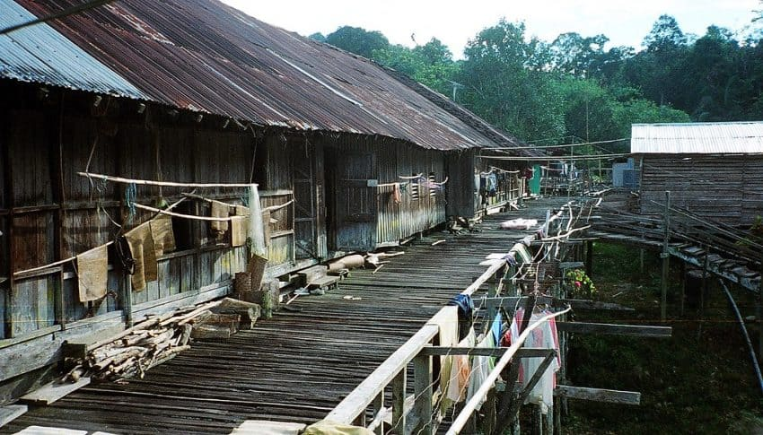 A traditional Borneo longhouse.