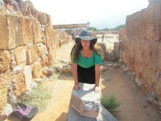 Vanessa at an altar of the Sacred Center of Malia in Crete. photo by Diane Gruppe Marshall