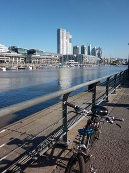 A view of Puerto Madero's boardwalk.