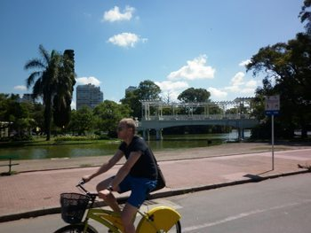 Riding an ecobici in Buenos Aires. Lydia Carey photo.