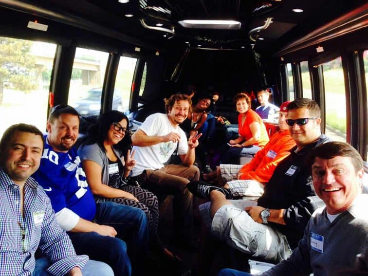 Colorado Cannabis marijuana tour participants in a magic limo.