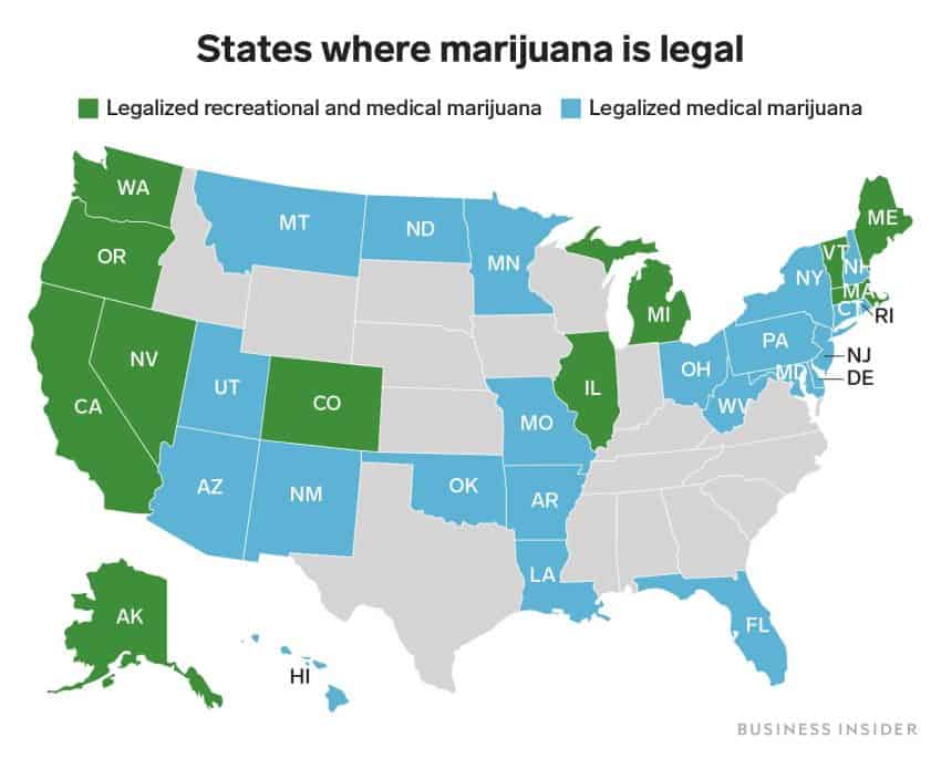 Map of the 15 states in the U.S. where you can buy legal weed.