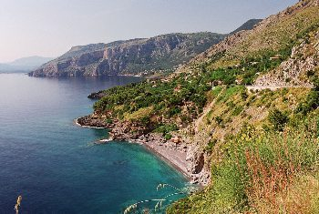 The rugged coast of Sardinia, Italy, in the Mediterranean Sea.
