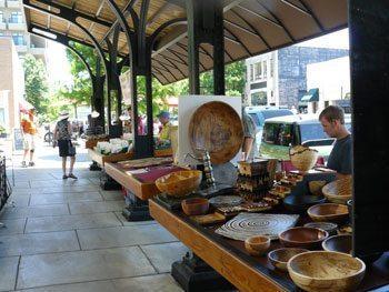 Sidewalk shopping in downtown Asheville.