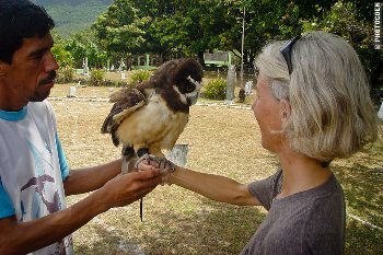Jose Percillio holds one of his birds of prey at the falcon park in Northeast Brazil. photos by Coen Wubbels.